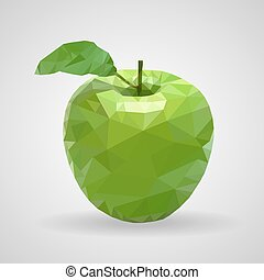 Green apple in the style of triangulation on a white background