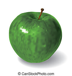 green apple isolated on white background - green vector ...
