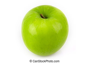 Green apple, isolated on white background .
