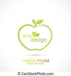 Green Apple Logo . Vector Illustration