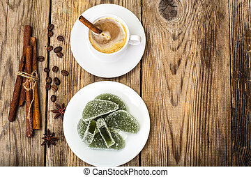 Green apple marmalade and coffee with milk