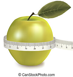 Green apple measured the meter. Vector.