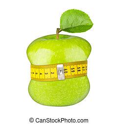 green apple measuring tape diet concept
