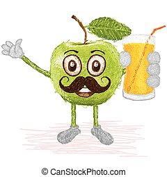green apple mustache