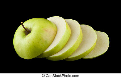 green apple on a black background