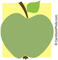 Green Apple On A Yellow Square