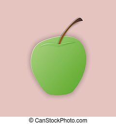 Green apple on pink background