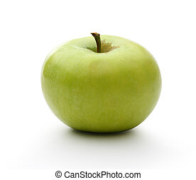 Green apple on the white background