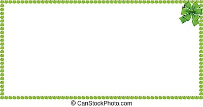 Green apple rectangle banner border with festive ribbon