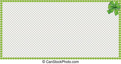 Green apple rectangle banner frame with festive ribbon