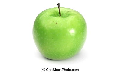 Green apple rotating