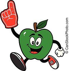 Green Apple Running with a Foam Hand