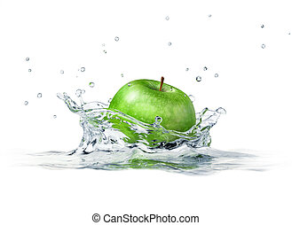 Green apple splashing into water. close up side view, with depth of field. 3 D digital rendering, on white background.