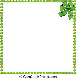 Green apple square border with festive ribbon