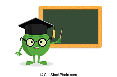 green apple standing near blackboard with a pointer as  teacher