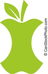 Green apple stub vector icon on white background