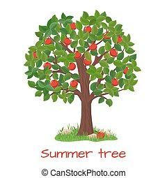 Green apple tree. Summer tree vector