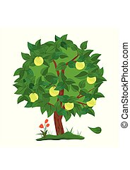 Green Apple tree with apples fruit isolated on white background. Vector Illustration