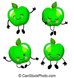Green apple. Vector illustration. Cute fruit character with arms and legs Isolated on a white background..