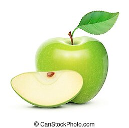 Green apple - Vector illustration of detailed big shiny...