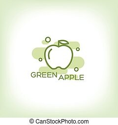 Green apple - vector logo.
