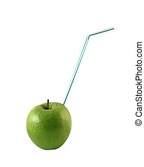 Green apple with a blue straw