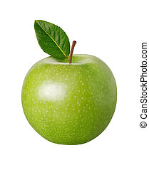 Green Apple with a clipping path