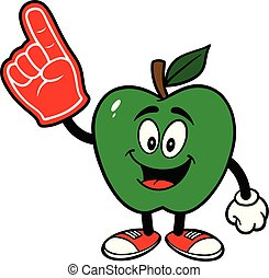 Green Apple with a Foam Hand