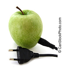 Green apple with a plug isolated over white background