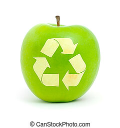 Green apple with a recycle symbol