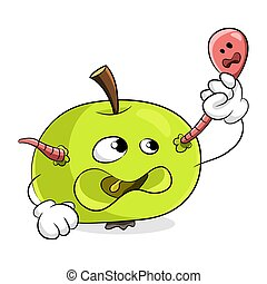 Green apple with a worm concept get rid of bad habits. ...