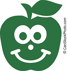 Green apple with cute face