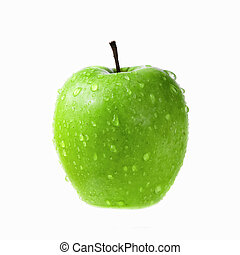 green apple with drops of water isolated on white