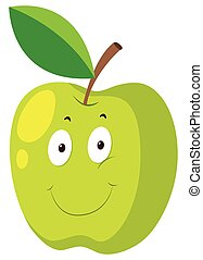 Green apple with happy face
