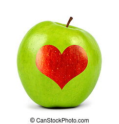 green apple with heart isolated