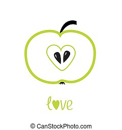 Green apple with heart shape. Love vector card.