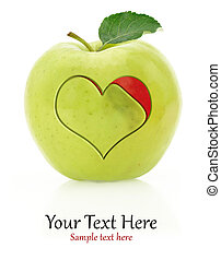 Green apple with heart symbol