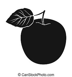Green Apple with leaf. Proper diet for diabetes. Diabetes single icon in black style bitmap symbol stock illustration.