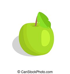 Green Apple with Leaf Vector Illustration Isolated