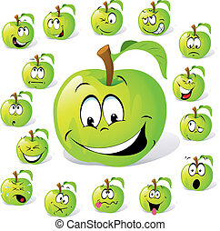 green apple with many expressions