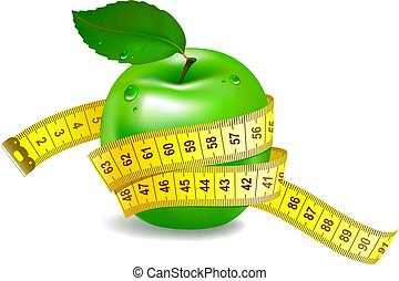 Green apple with measuring tape.