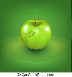 Green Apple With Organic Label