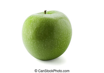 Green apple with path