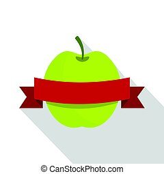 Green apple with red ribbon icon, flat style