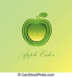 Green Apple with Sparkling Cider Inside.