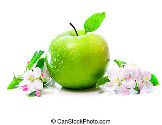 green apple with spring flowers - green apple fruit with...