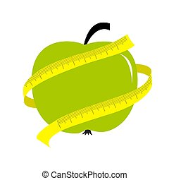 Green apple with yellow measuring tape ruler. Diet concept card.
