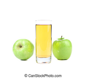 Green apples and juice in the glass