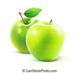 Green apples and leafe isolated with clipping path