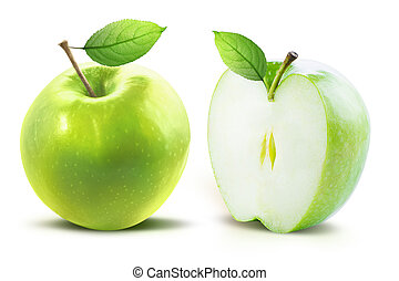 Green apples and leaves isolated with clipping path
